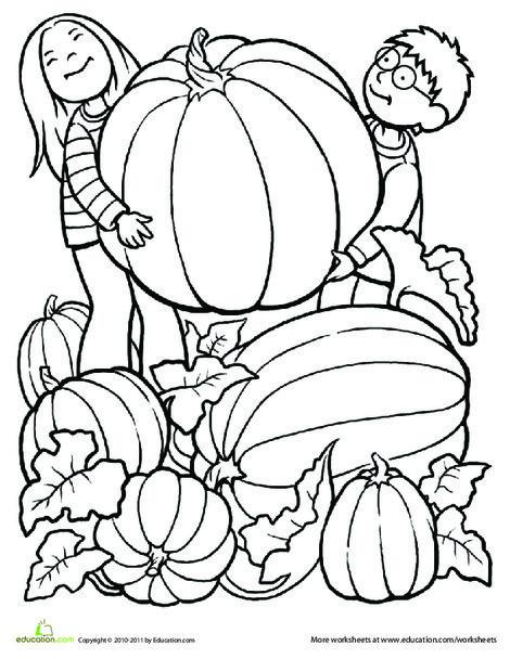 Kindergarten Seasons Worksheets: Giant Pumpkin Coloring Page