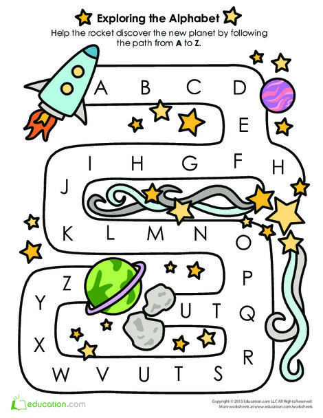Preschool Reading & Writing Worksheets: Alphabet Learning: Follow the A to Z Path