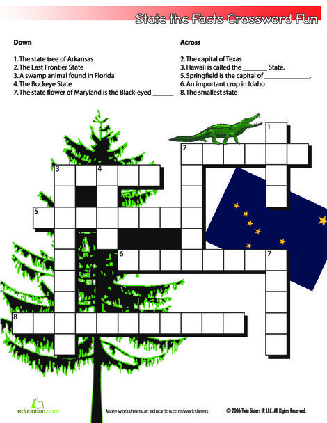 Fifth Grade Social studies Worksheets: State the Facts Crossword #3
