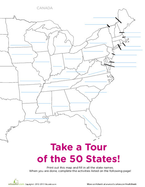 Fifth Grade Social studies Worksheets: Blank Map of the United States