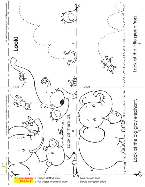 Kindergarten Reading & Writing Worksheets: Make a Mini Story Book: Look at the Animals