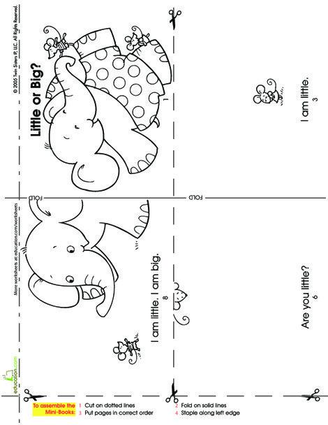 Kindergarten Reading & Writing Worksheets: Make a Mini Story Book: Little or Big?