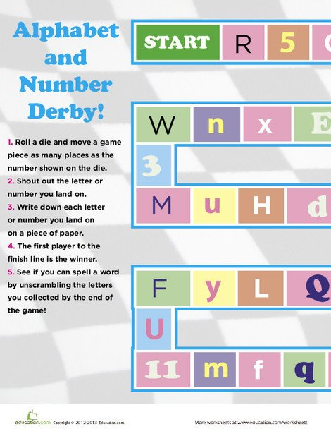 Preschool Math Worksheets: Play Alphabet and Number Derby