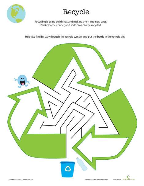 Kindergarten Offline games Worksheets: Eco-Friendly Maze: Recycle