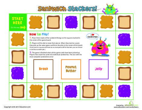 Preschool Offline games Worksheets: Sandwich Stacker