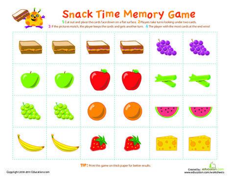 Kindergarten Offline games Worksheets: Picture Memory Game