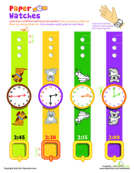 First Grade Math Worksheets: Practice Telling Time with Play Watches: 2 O'Clock