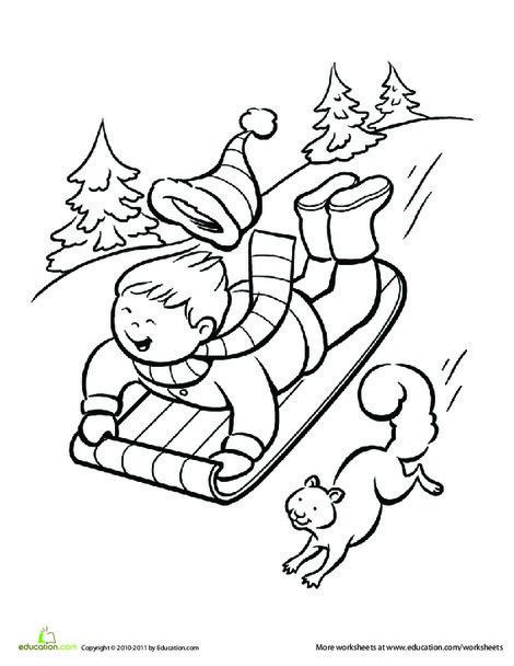 Kindergarten Seasons Worksheets: Winter Sledding Coloring Page