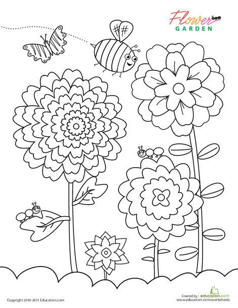 Kindergarten Coloring Worksheets: Flower Garden Coloring Page