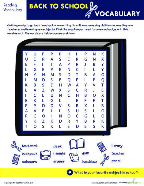 Second Grade Reading & Writing Worksheets: Find the Hidden Back to School Words