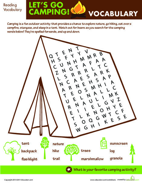 Second Grade Reading & Writing Worksheets: Let's Go Camping: Word Search