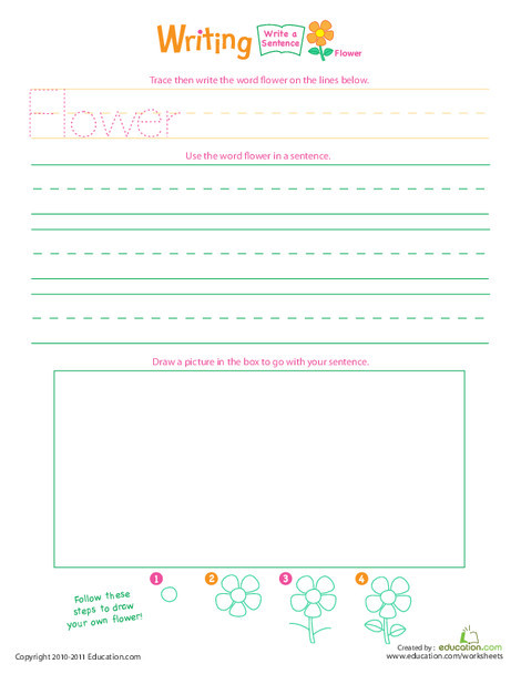"Kindergarten Reading & Writing Worksheets: Jump Into Writing: Write a ""Flower"" Sentence"
