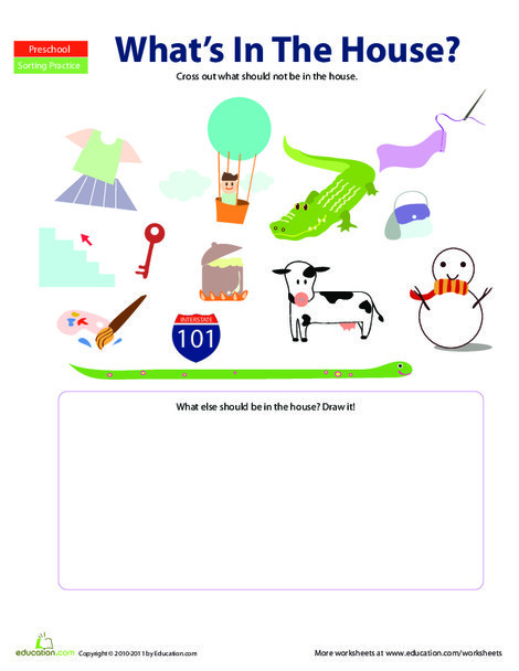 Preschool Math Worksheets: In the House: What Doesn't Belong?