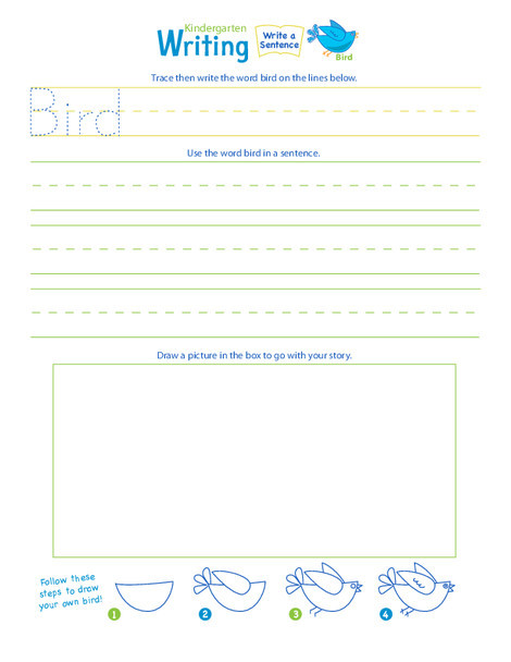 "Kindergarten Reading & Writing Worksheets: Jump into Writing: Write a ""Bird"" Sentence"