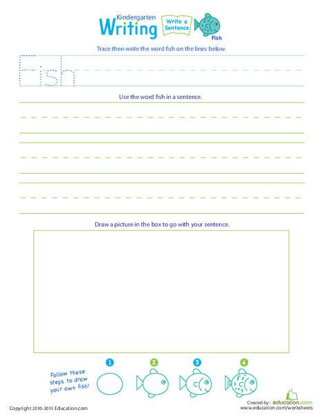 "Kindergarten Reading & Writing Worksheets: Jump Into Writing: Write a ""Fish"" Sentence"