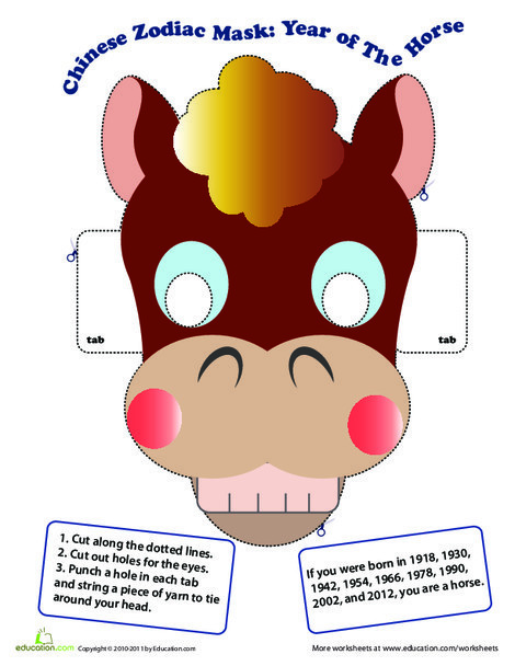 Kindergarten Social studies Worksheets: Make a Chinese Zodiac Mask: Year of the Horse