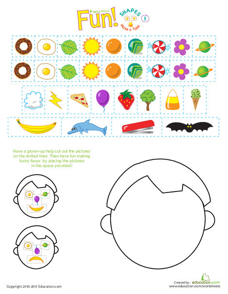 Preschool Math Worksheets: Silly Shapes: Make a Face!