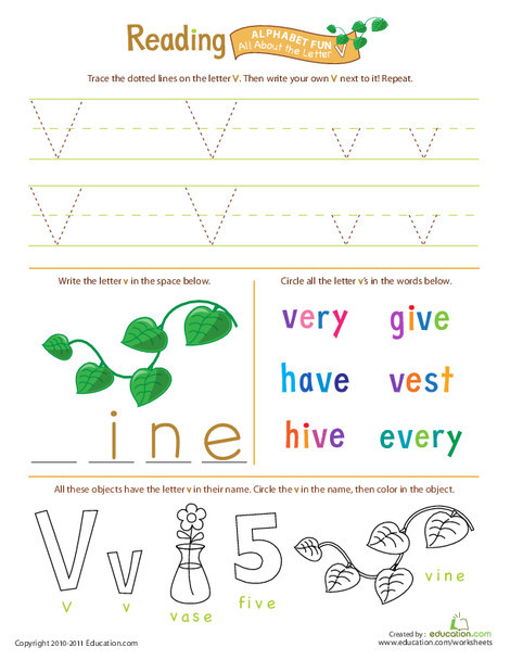 Preschool Reading & Writing Worksheets: Get Ready for Reading: All About the Letter V