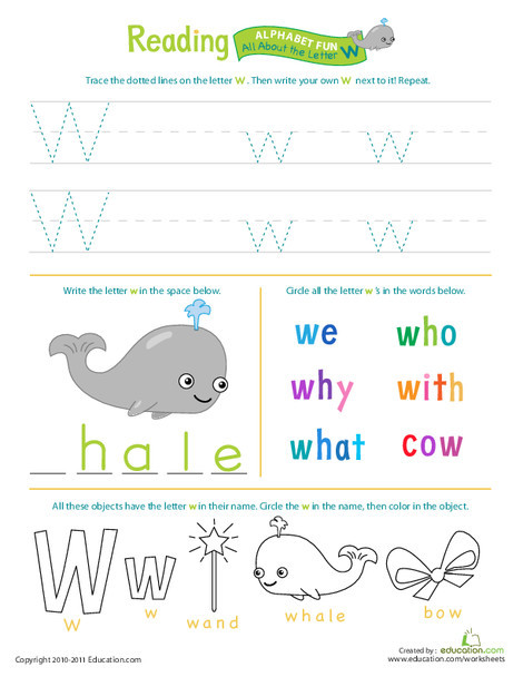 Preschool Reading & Writing Worksheets: Get Ready for Reading: All About the Letter W