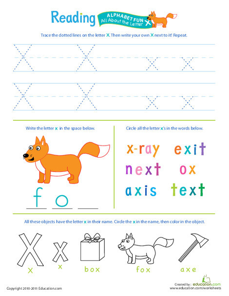Preschool Reading & Writing Worksheets: Get Ready for Reading: All About the Letter X