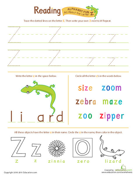 Preschool Reading & Writing Worksheets: Get Ready for Reading: All About the Letter Z