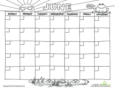 Preschool Math Worksheets: Create a Calendar: June