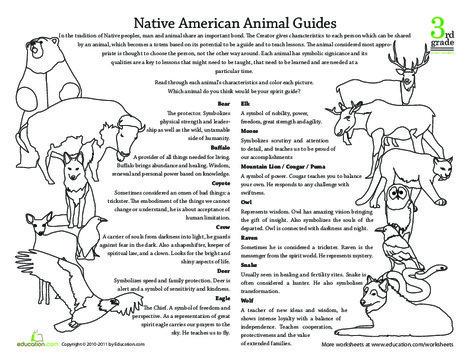 Third Grade Social studies Worksheets: Native American Beliefs: Animal Guides
