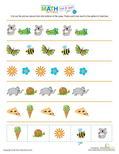 Preschool Math Worksheets: Cut It Out! Patterns #1