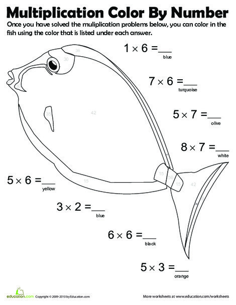Third Grade Math Worksheets: Multiplication Color by Number: Fish #1