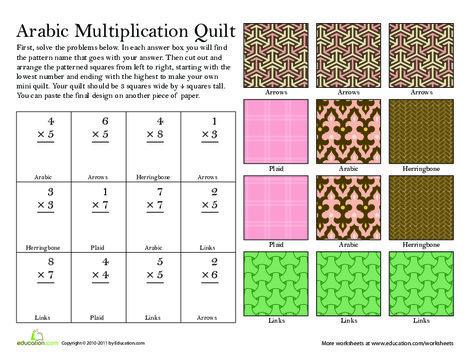 Third Grade Math Worksheets: Make a Quilt: Multiplication #1
