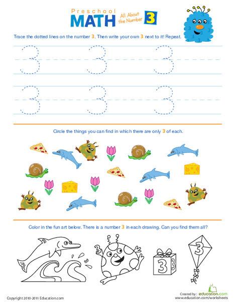 Preschool Math Worksheets: Preschool Math: All About the Number 3