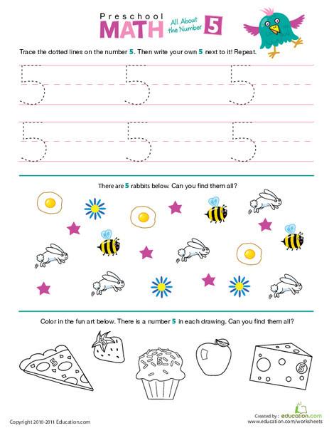 Preschool Math Worksheets: Preschool Math: All About the Number 5