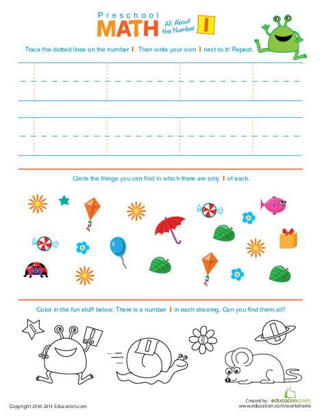 Preschool Math Worksheets: The Number 1: Preschool Math Introduction