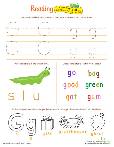 Preschool Reading & Writing Worksheets: Get Ready for Reading: All About the Letter G