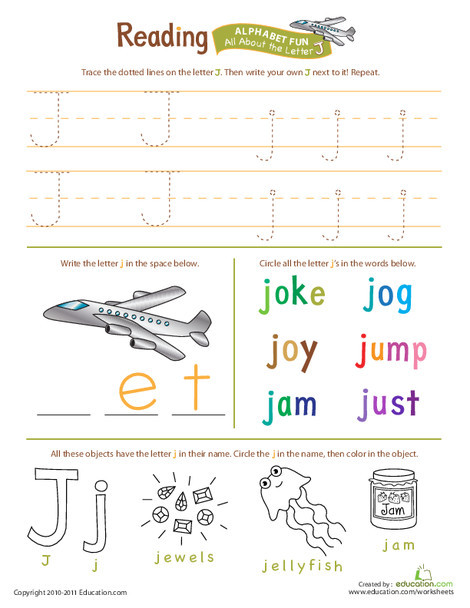 Preschool Reading & Writing Worksheets: Get Ready for Reading: All About the Letter J