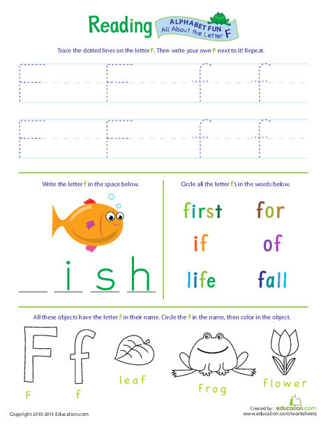Preschool Reading & Writing Worksheets: Get Ready for Reading: All About the Letter F