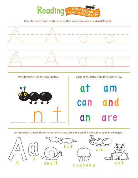 Preschool Reading & Writing Worksheets: Beginning Reading: All About the Letter A