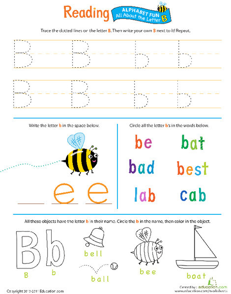 Preschool Reading & Writing Worksheets: Get Ready for Reading: All About the Letter B