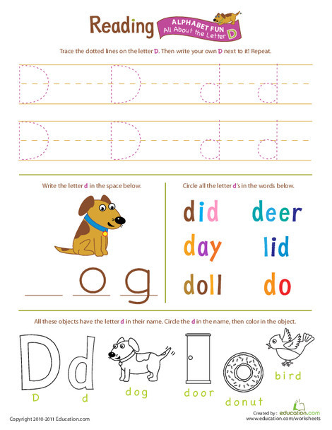Preschool Reading & Writing Worksheets: Get Ready for Reading: All About the Letter D