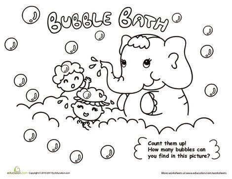 Kindergarten Coloring Worksheets: Bath Time! Color the Elephant Bubble Bath
