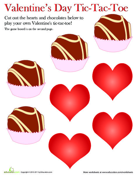 First Grade Offline games Worksheets: Play Valentine's Day Tic-Tac-Toe!