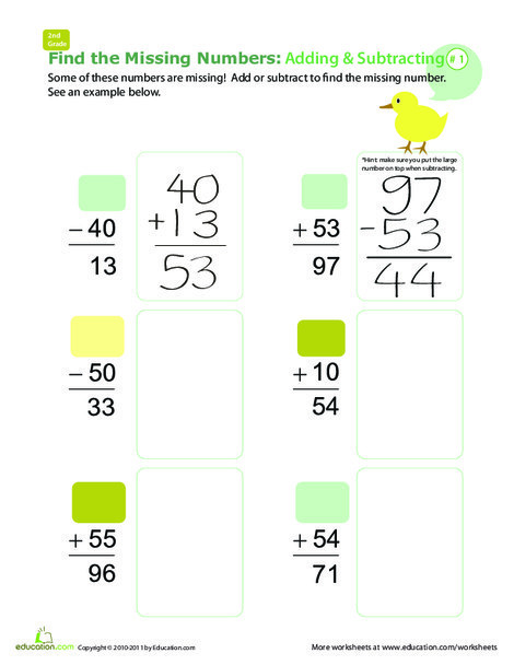 Second Grade Math Worksheets: Find the Missing Numbers: Reverse Addition & Subtraction #1