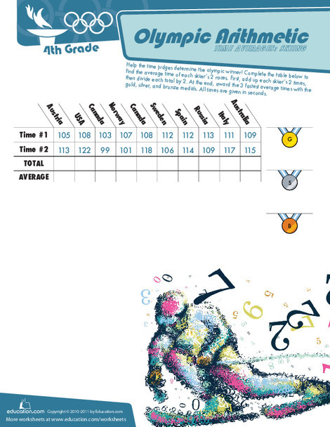 Fourth Grade Math Worksheets: Olympic Arithmetic: Skiing Time Averages