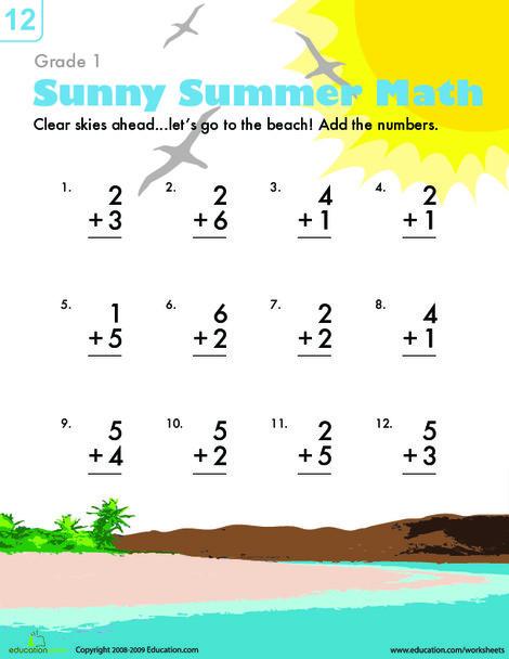 First Grade Math Worksheets: Addition Facts Worksheet: Beach Fun
