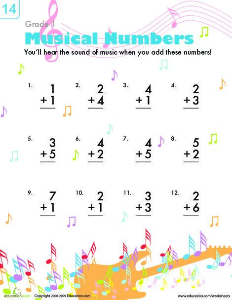 First Grade Math Worksheets: Musical Addition
