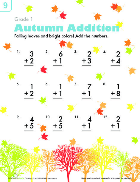 First Grade Math Worksheets: Autumn Addition