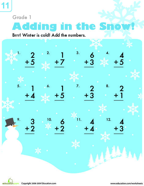First Grade Math Worksheets: Addition in the Snow