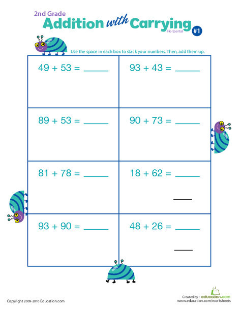 Second Grade Math Worksheets: Addition with Carrying 1