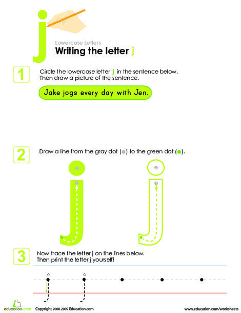 Kindergarten Reading & Writing Worksheets: Writing the Letter j