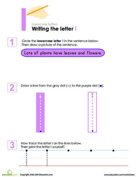 Preschool Reading & Writing Worksheets: Writing the Letter l